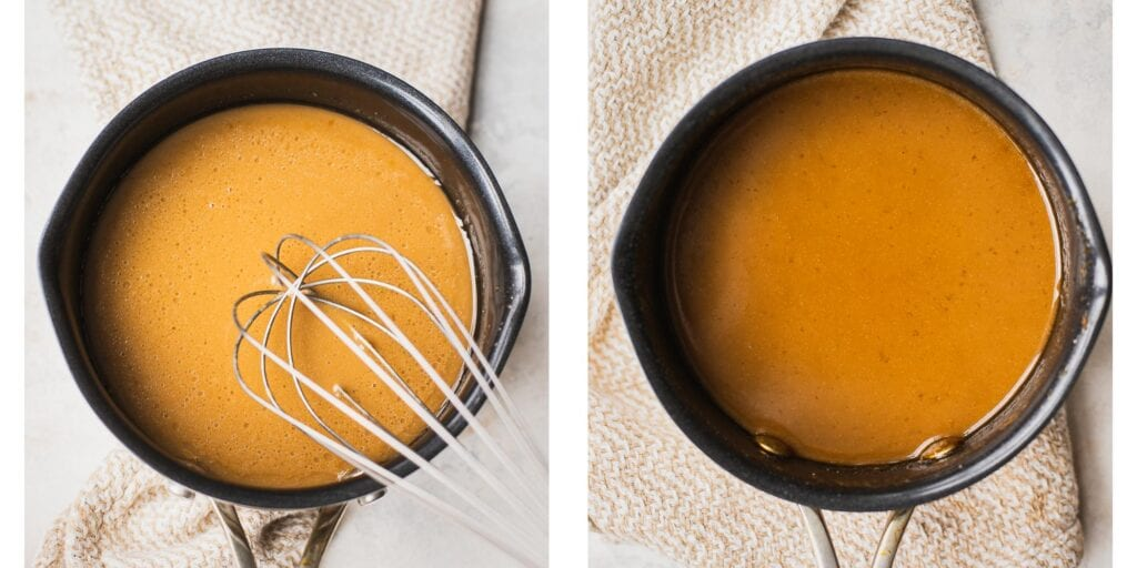 Instruction on how to make 4 ingredients healthy homemade caramel sauce in a saucepan.