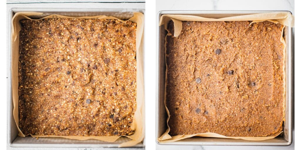 There are two pictures next to each other. The left one is a crust made with almonds, medjool dates and chocolate chips. The right picture is the vegan gooey filling made with cashews and walnuts.