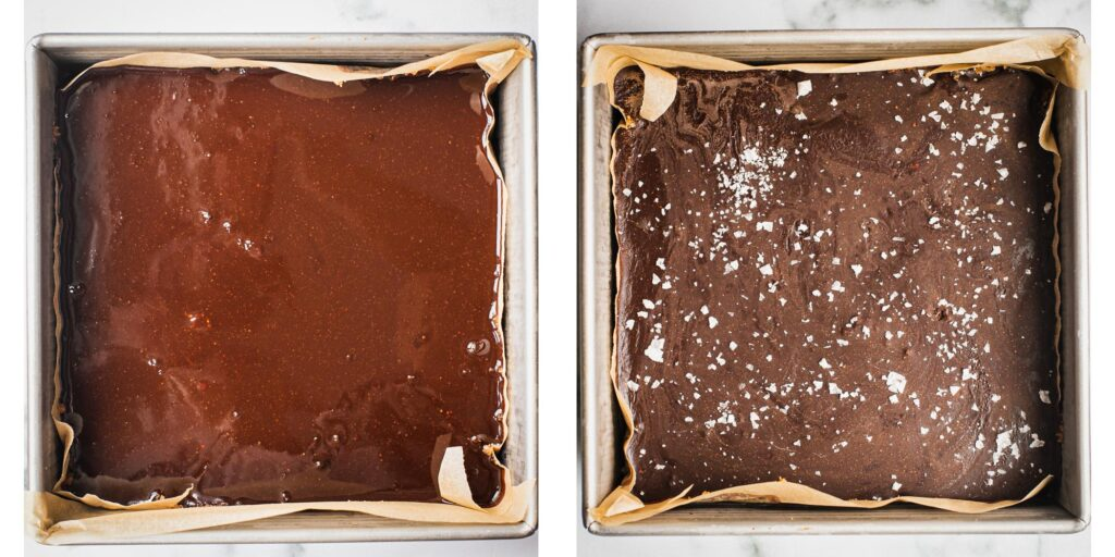 The left picture shows smooth chocolate ganache on top of a cake You can tell that it was just poured on top because it's still shiny. The second picture is when the sugar-free dessert has come out from the freezer and it has a sprinkle of flaky salt on top.