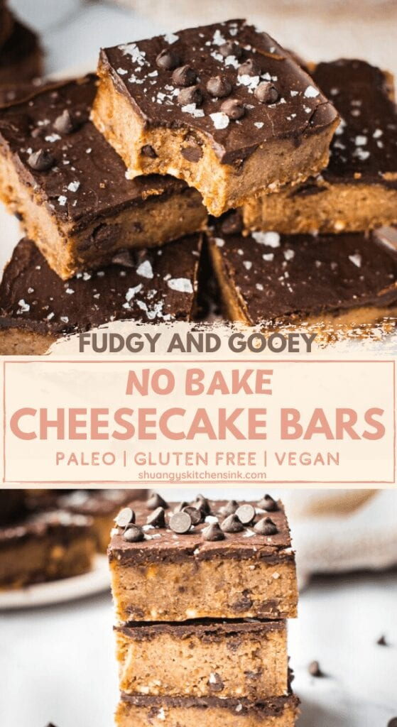 Pinterest picture for no-bake cheesecake bars. There are two pictures where you can see how fudgy and gooey the gluten-free dessert is
