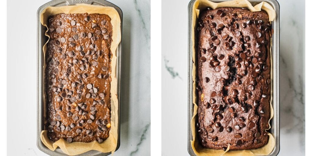 A before and after picture of a chocolate banana cake. The left is before the oven and the right after the bread has come out from the oven