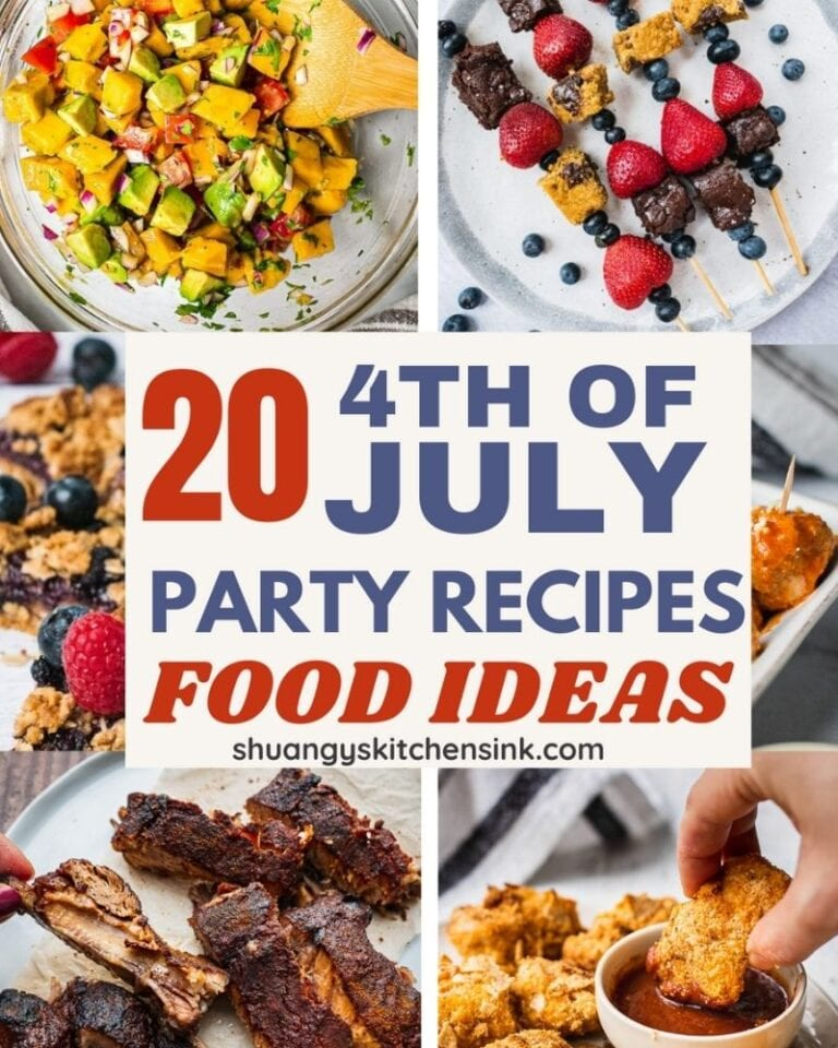 These are 20 4th of July food that you need for a crowd. Here you will find all the July 4th appetizers, side dishes and desserts. They are my favorite healthy recipes to make for the family because they are easy, kid friendly and are perfect to serve for a crowd.