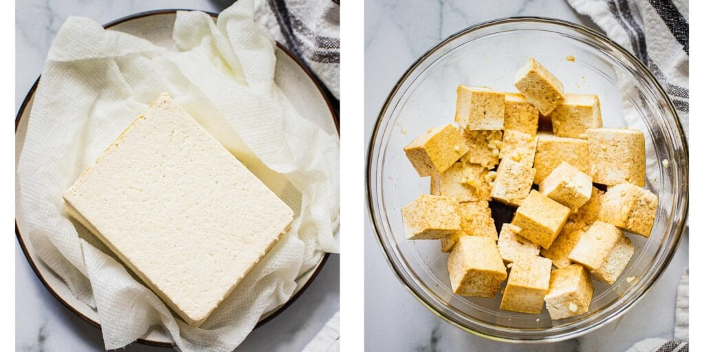 There are two pictures. On the left one these is a block of tofu being drained on a paper towel. On the right picture the vegan tofu has been cubed up and tossed with a soy garlic marinade