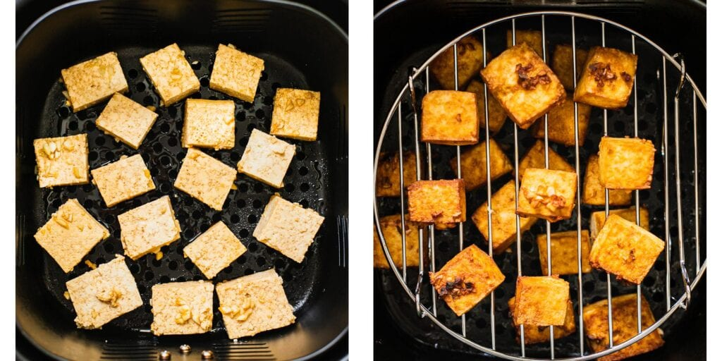 There are two pictures. On the left there is tofu about to get fried in an air fryer. On the right the tofu has been fried and it turned golden brown.