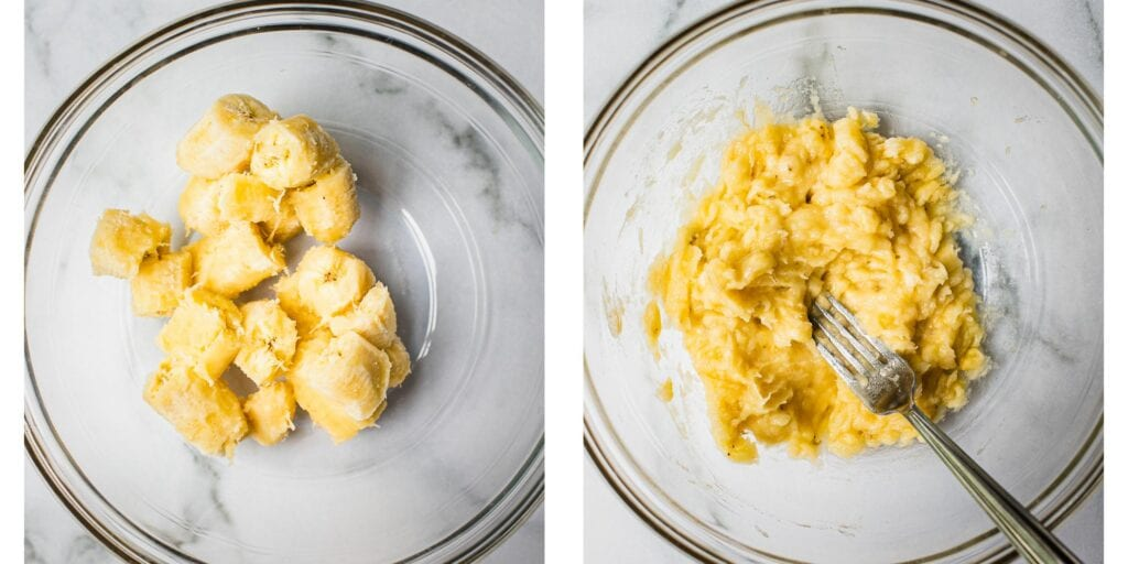 Two bowls next to each other. The left one has ripe bananas cut up in it and in the right bowl the bananas have been mashed up with a fork