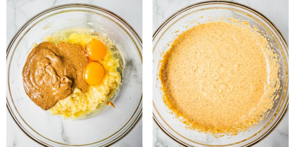 on the first bowl you can see smooth almond butter, eggs and mashed bananas and in the second bowl the ingredients are mixed together