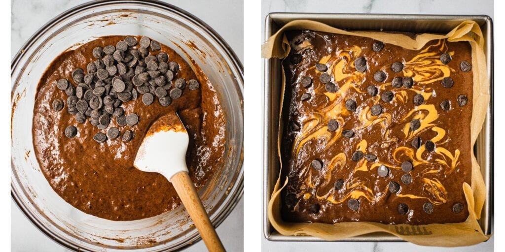 There are two pictures. The first ond is a glass bowl with healthy brownie batter and chocolate chips. The second is a baking tray with the banana brownie batter in it drizzled with nut butter ready to be baked in the oven