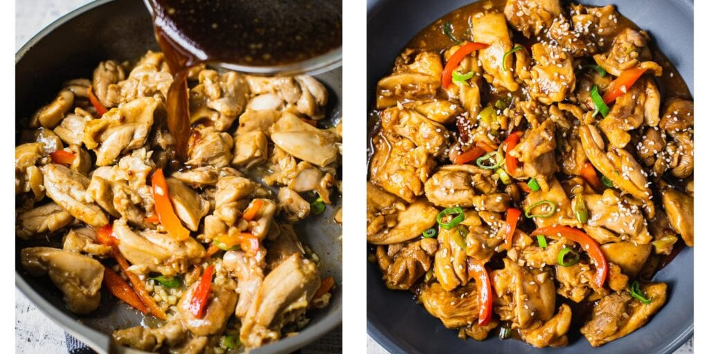 Chicken, garlic and bell peppers in a non stick skillet. There is a sticky chinese sauce beeing pored over. Instead of soy sauce coconut aminos has been used to make this asian stir fry gluten-free