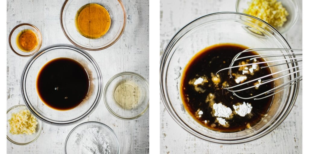 On the left picture there are Six small glass bowls on a table. There is one ingredient in each bowl. There are honey, coconut aminos, garlic, arrowroot starch, rice vinegar, and sesame oil. On the right picture the ingredients are being combined with a wisk.