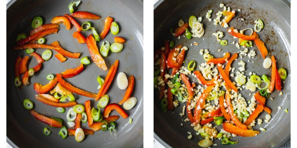Red Bell Pepper, scallions and garlic are being fried in a non stick pan.