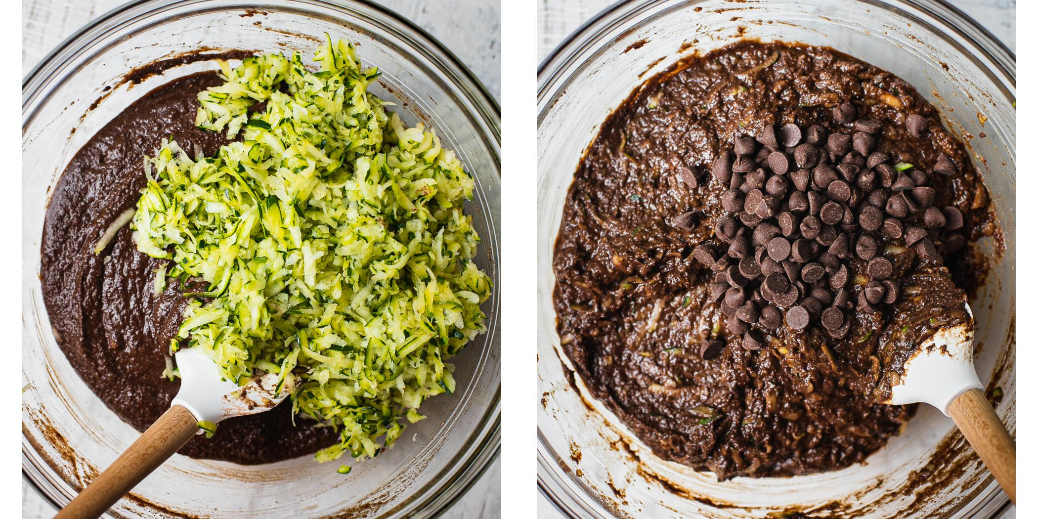 Two bowls with dairy free chocolate batter in it. In one bowl shredded zucchini is being added and in the second bols paleo chcolate chips are being folded in to the rich cake batter