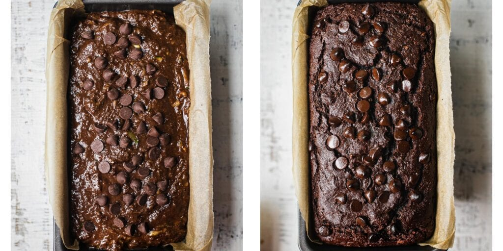 Instruction to make the best healthy chocolate zucchini bread.