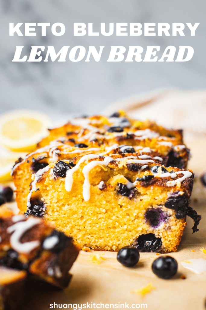 A loaf of sliced keto blueberry lemon bread with coconut butter.