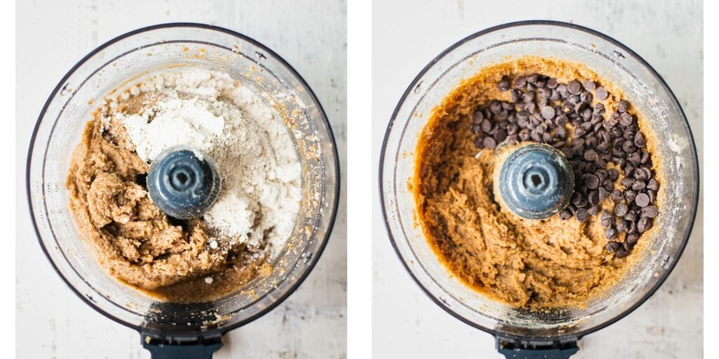 In a food processor these are blended cashews, coconut flour and chocolate chips