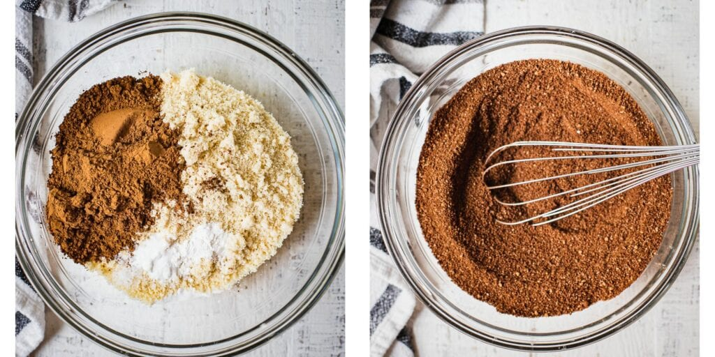 There are two pictures. The one on the left is a glass bowl with gluten free almond flour, baking soda, baking powder, salt, coconut sugar and cacao powder. On the picture to the right everything has been mixed together with a whisk