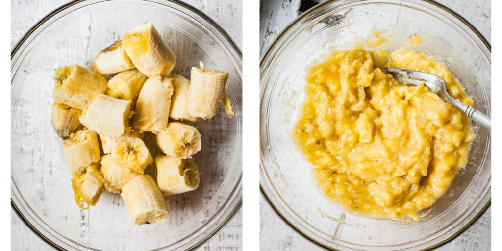 Two pictures next to each other. On the left, there is a glass bowl with chunks of bananas. On the right they have been mashed up by a fork
