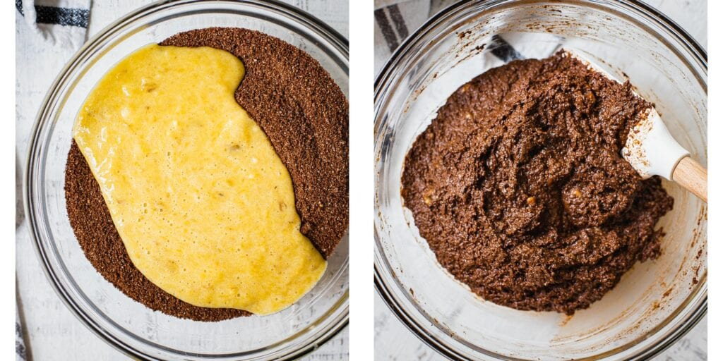 On the left, there is a bowl with the dry ingredients to paleo muffins. on top of the dry ingredients there are wet ingredients. They are not yet mixed together. On the picture to the right, the wet and dry ingredients has been mixed together into a chocolatey batter