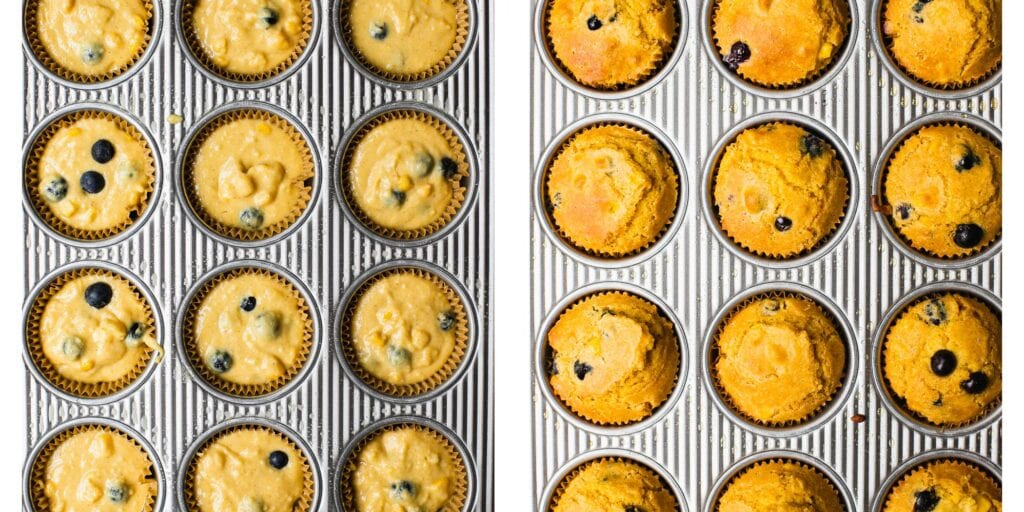 There are two pictures next tot each other. It's a before and after picture of blueberry muffins. The one on the left has not been in the oven. The one on the right has been bake until golden brown.