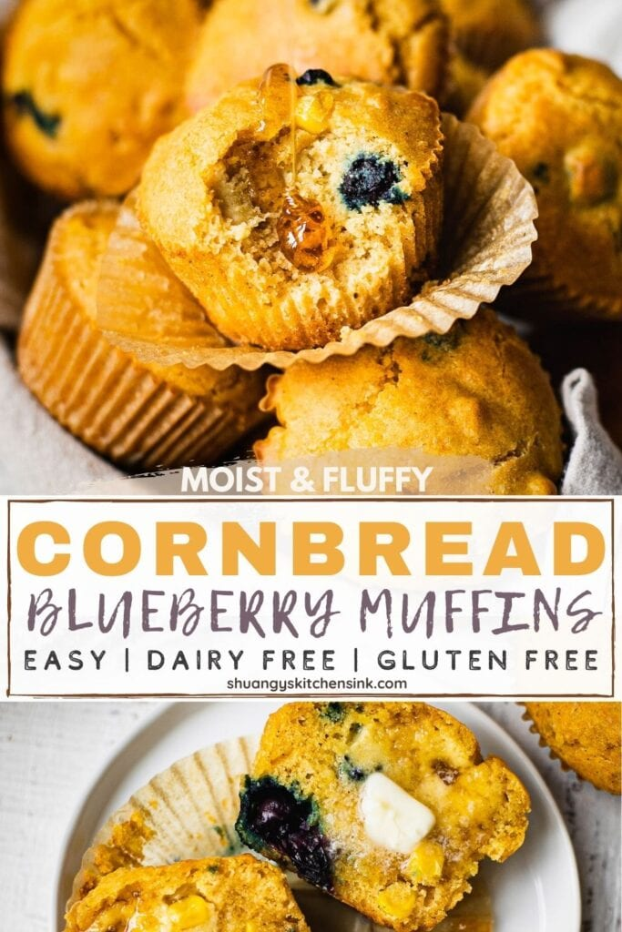Pinterest picture of moist and fluffy cornbread blueberry muffins