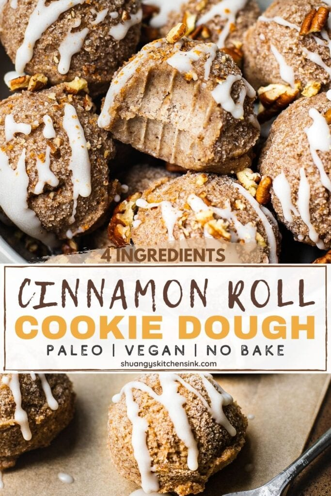 Pinterest picture of No Bake Cinnamon Roll Cookies. The raw cookie dough balls are drizzled with vegan cream cheese frosting