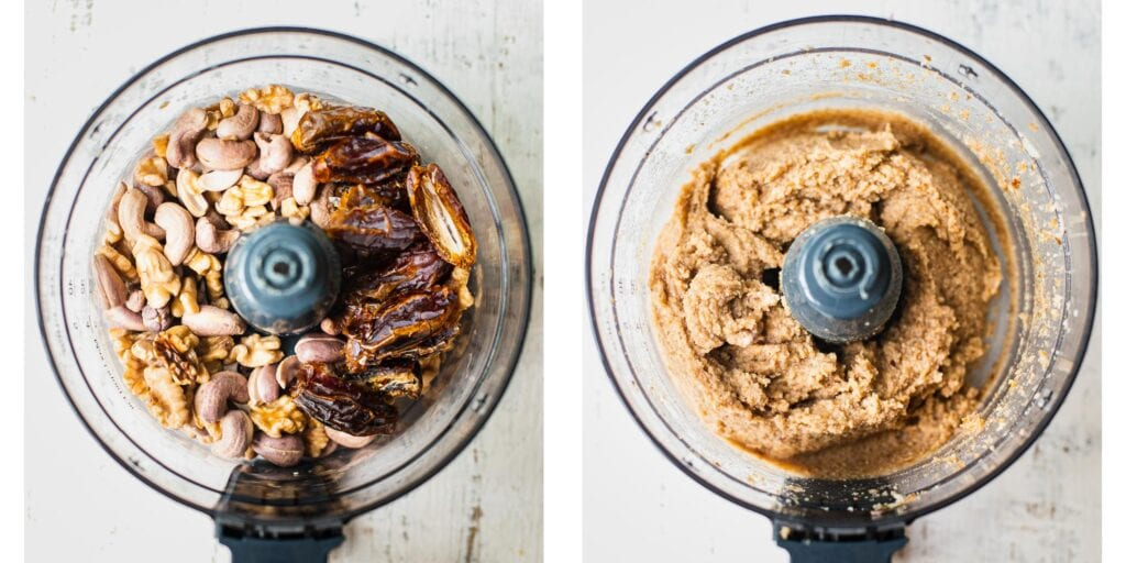 Two pictures next tot each other. on the left, there is a food processor with cashews and Medjool dates in it. On the right it has been pulsed together to a smooth dough