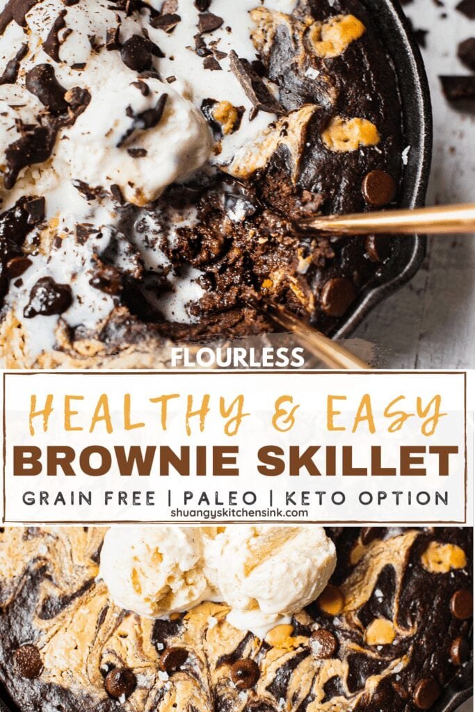 Pinterest Picture for a healthy and easy brownie skillet