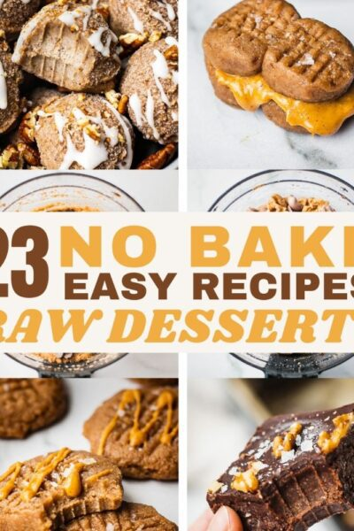 A collection of no bake dessert, keto energy bites, paleo bliss balls, and post workout snacks.