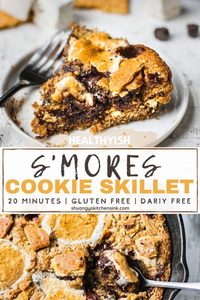 Pinterest picture for a healthyish s'mores cookie skillet