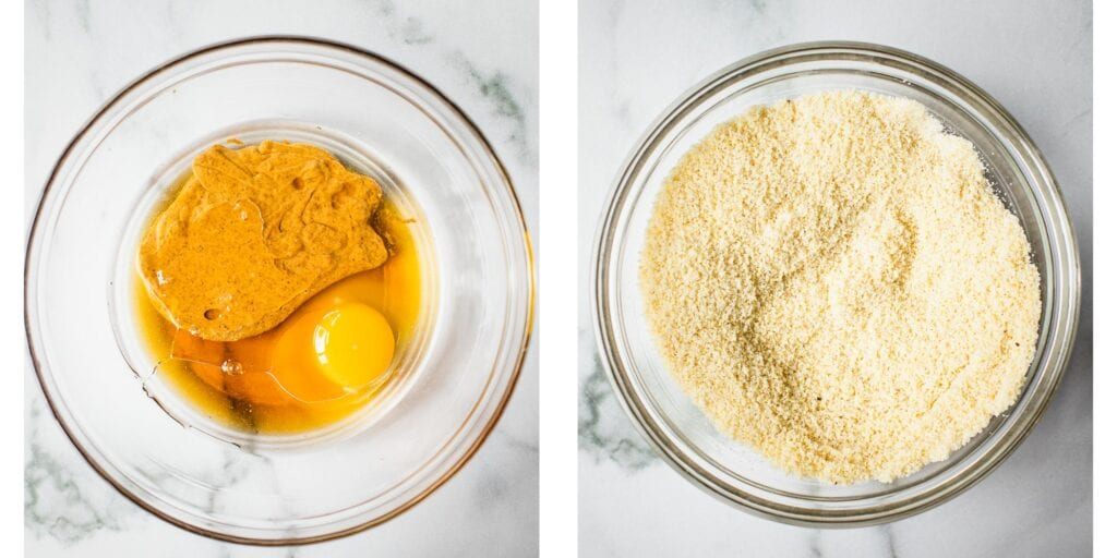 On the left there is a bowl with eggs and nut butter . On the right there is a bowl of gluten free almond flour