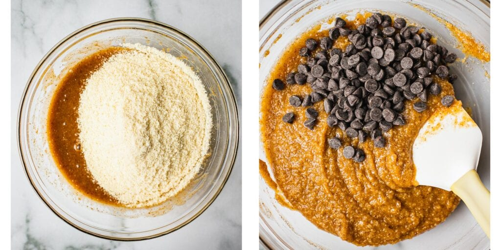 There are one bowl on the left with gluten free almond flour being added to eggs, almond butter and maple syrup. On the right there are vegan chocolate chips being folded in to a batter