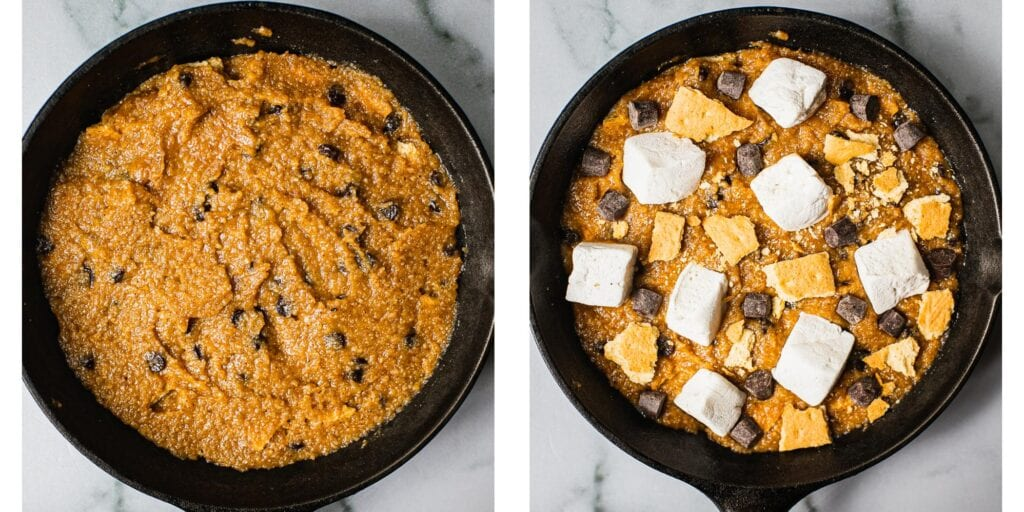 A pan filled with raw chocolate chip cookie dough on the left. On the right the cookie dough has been topped with marshmallows, gluten free graham cracker pieces and vegan chocolate chips