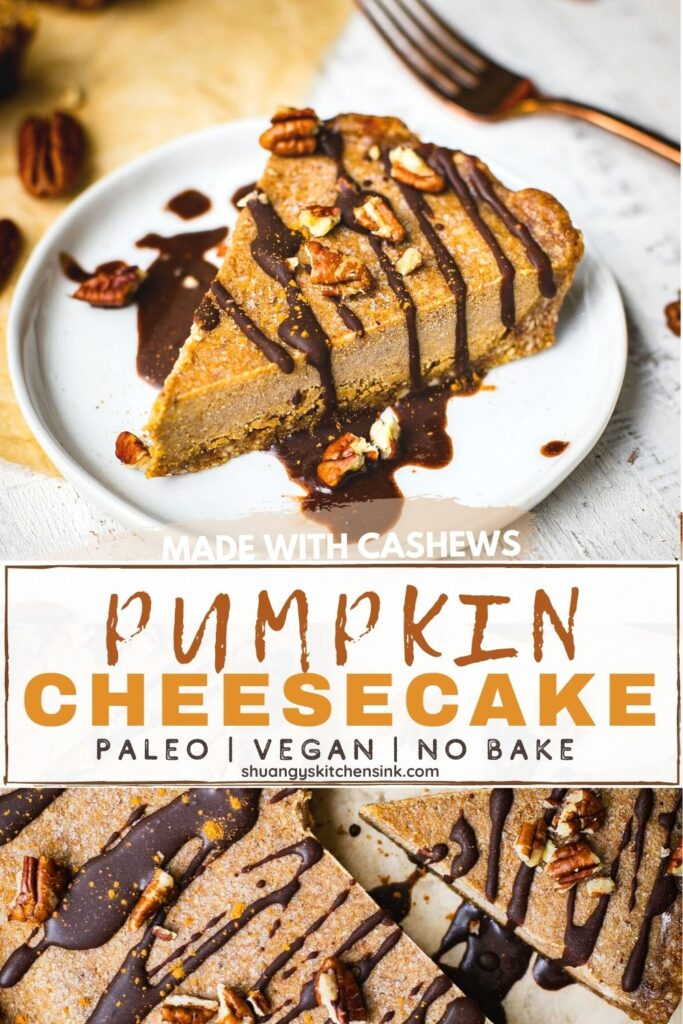 A piece of No Bake Pumpkin Cheesecake drizzled with vegan chocolate and topped with gluten free nuts