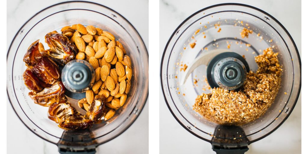 Dated and almonds being processed in a food processor