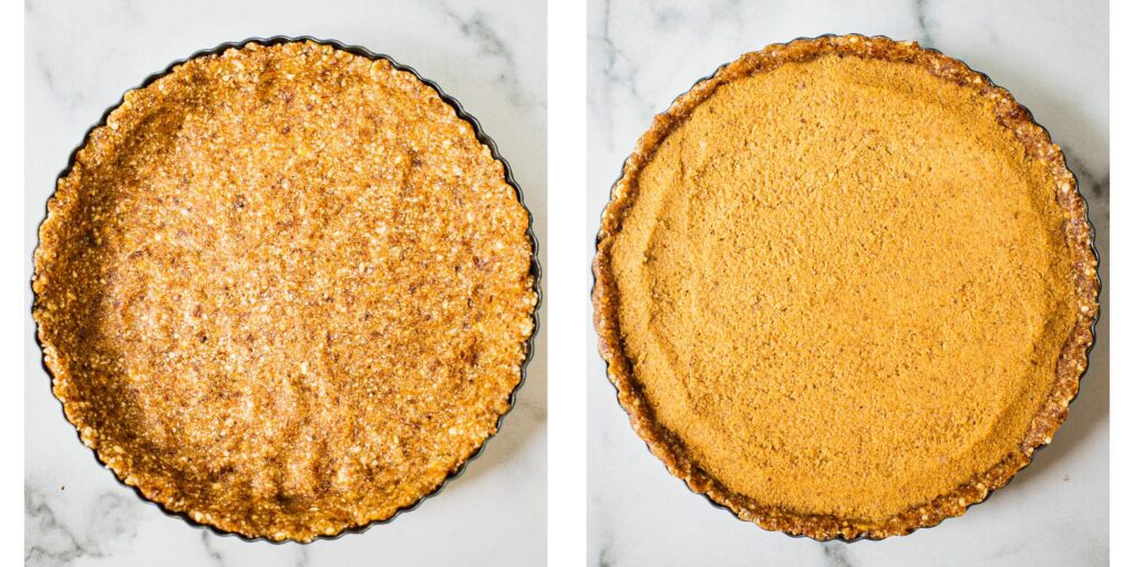 on the left there is a gluten free pie crust made with dates and almonds in a round pie tin. On the right, the paleo pie crust is filled with a creamy pie filling