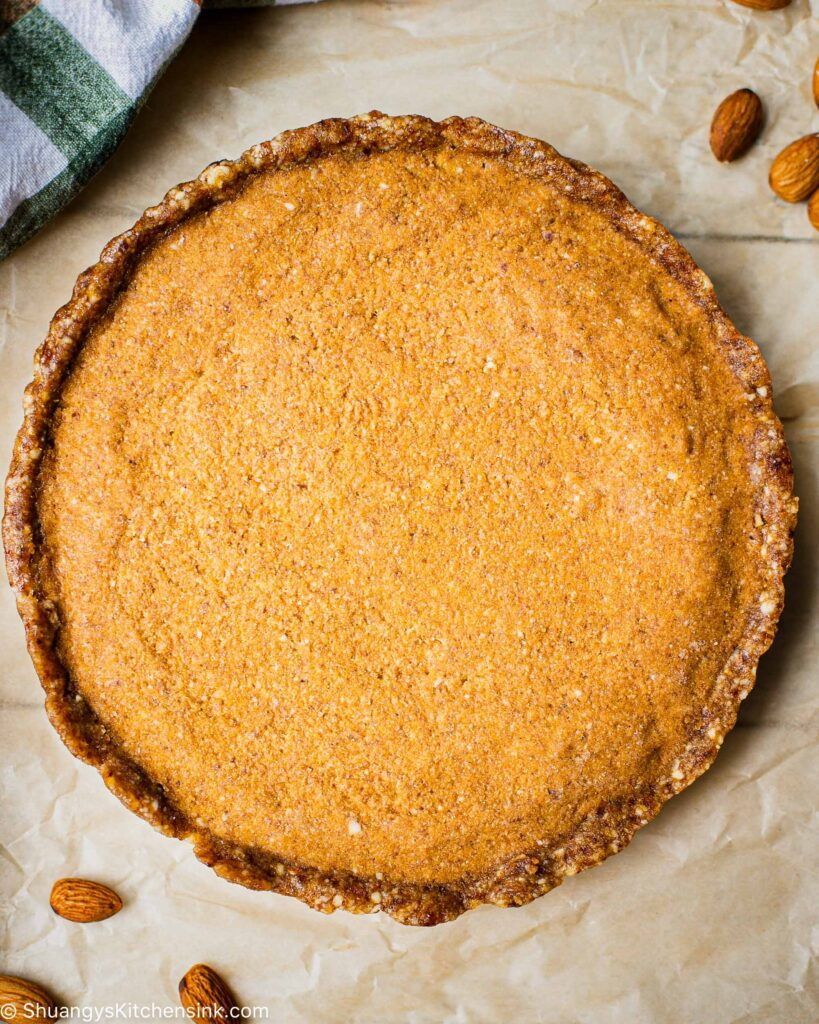 A golden brown and freshly made healthy dessert pie