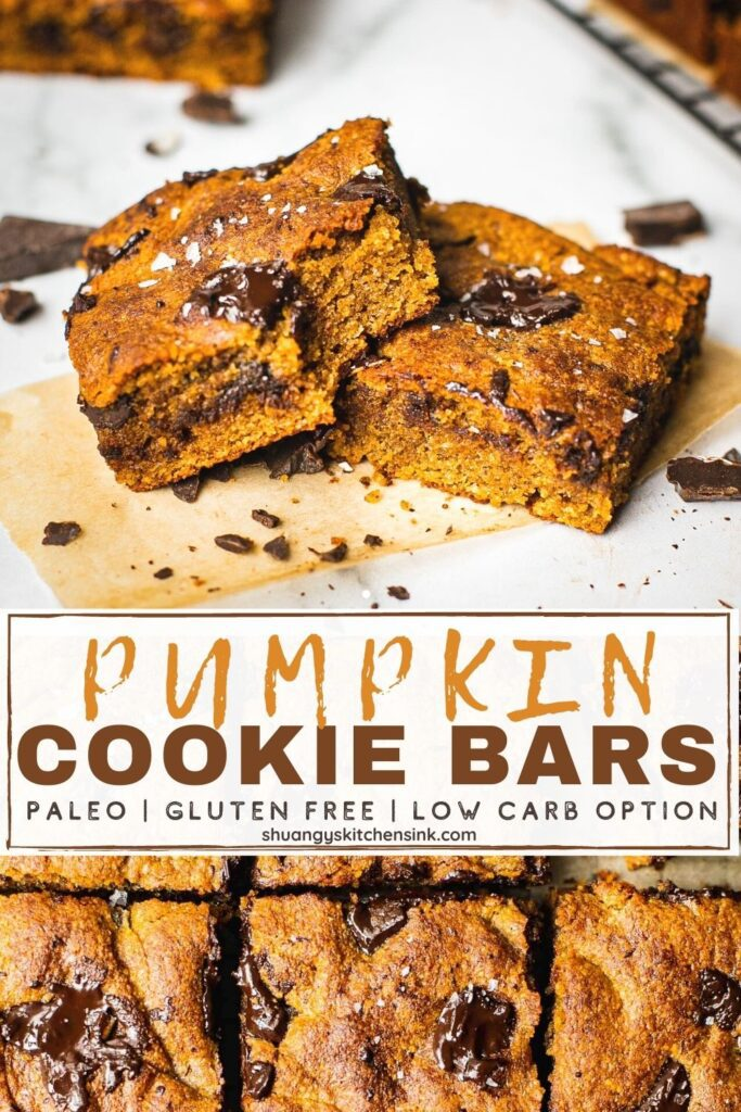 Moist and fluffy pumpkin cookie bars that are paleo, gluten free and dairy free.