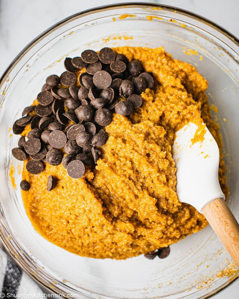 vegan chocolate chips are about to be golden into a gluten free cookie dough