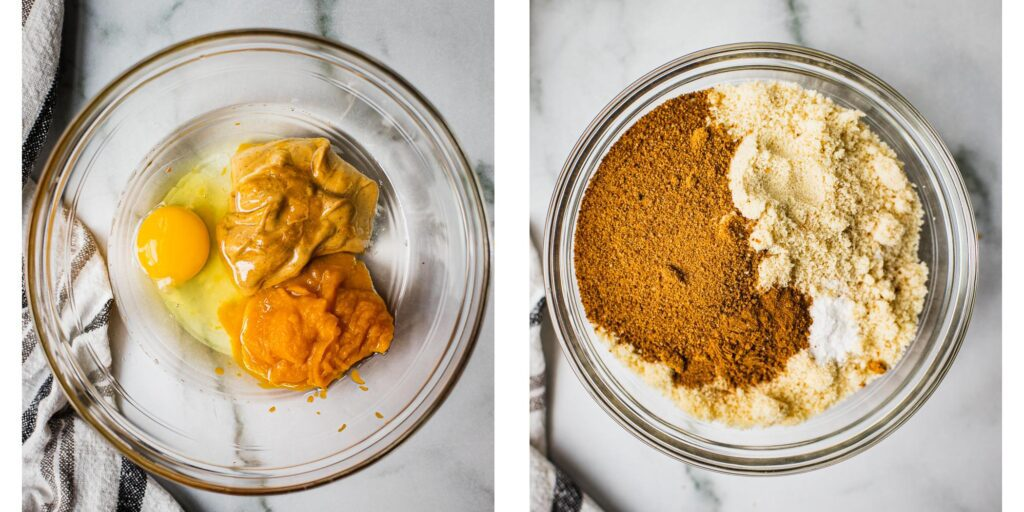 on bowl with an egg, pumpkin puree and almond butter. One bowl with coconut sugar, baking soda, salt and almond flour