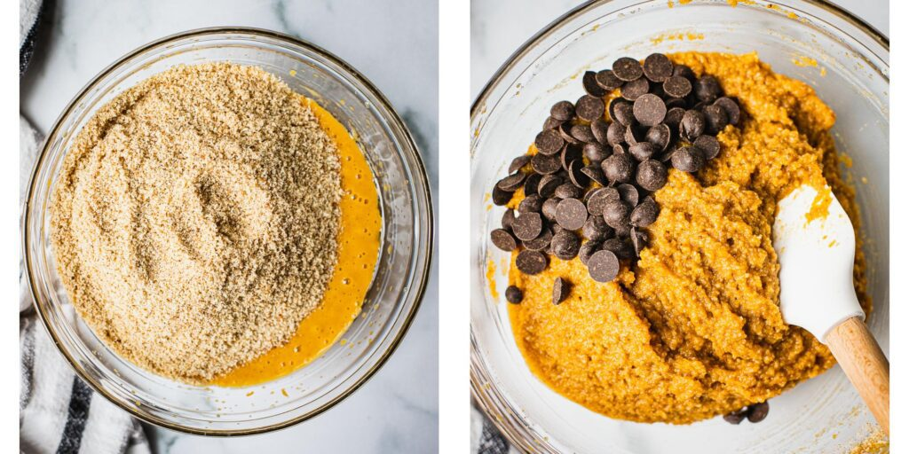 On the left there is a glass bowl with eggs, coconut oil, maple syrup and almond flower. On the right picture the ingredients has been mixed together and dairy free chocolate chips are about to be folded in with a spatula.