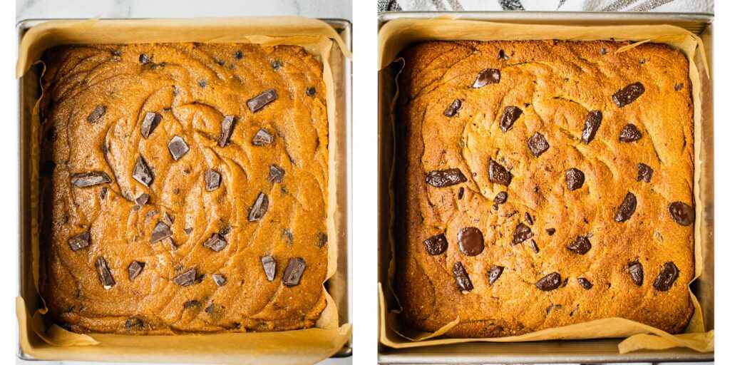 An 8 by 8 pan is filled with a freshly baked pumpkin cookie bar. It is golden brown and there are dark chocolate chips on the top