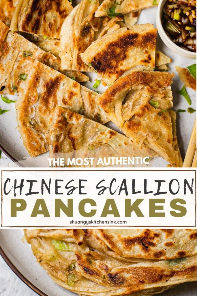 Authentic homemade scallion pancakes cut into wedges