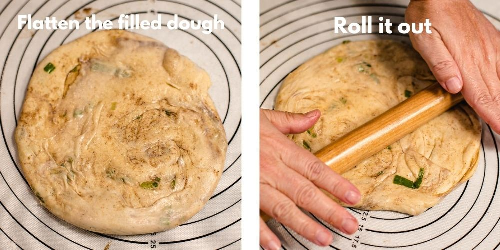 A dough filled with spiced is being rolled out by a rolling pin