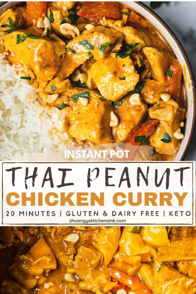 pinterest picture for instant pot thai peanut chicken curry