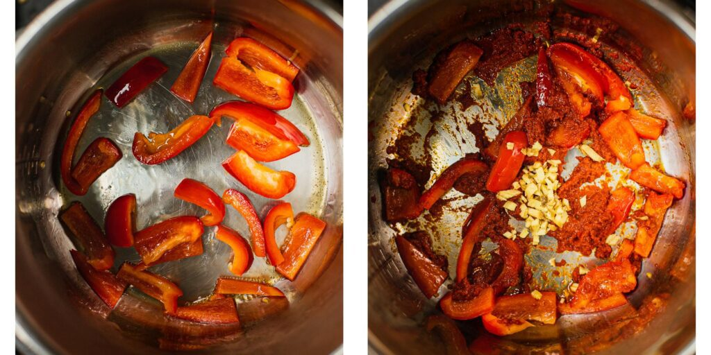 Red peppers are being fried in a pan. a red paste and ginger is being added to the pan as well.