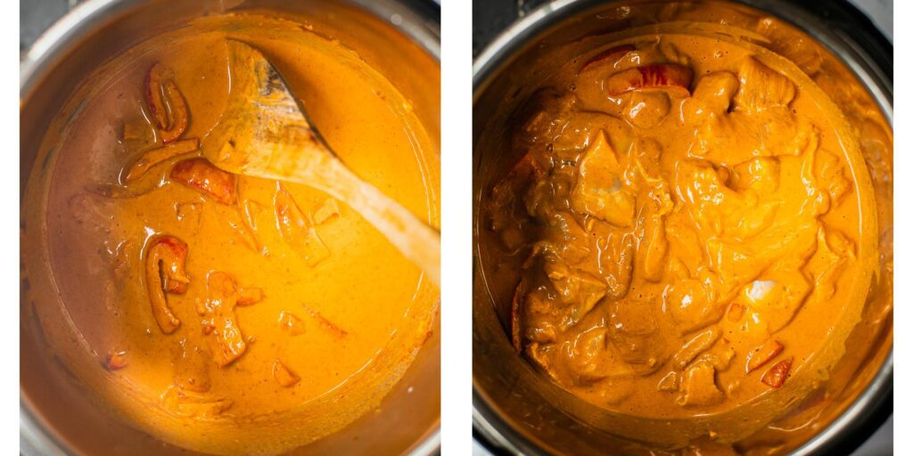 Thai Peanut Chicken Curry simmering in an instant pot