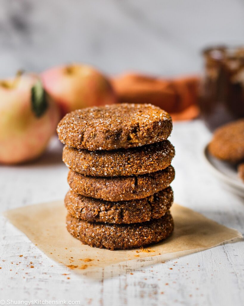 5 Paleo apple pie cookies stacked on top of each other.