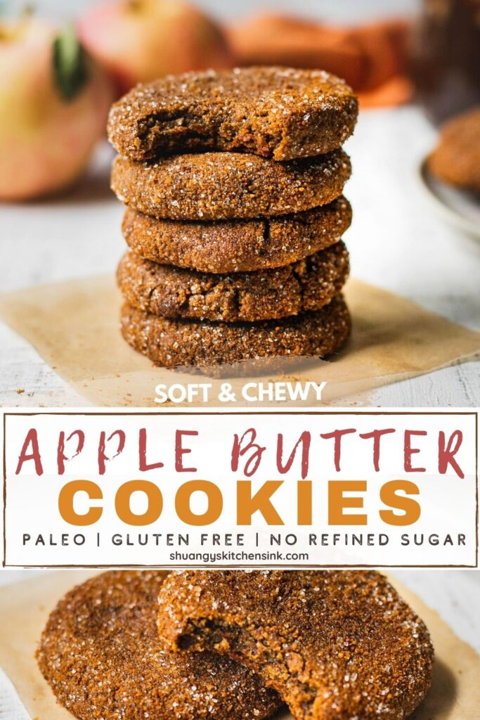 apple butter cookies are stacked on top of each other. a bite is taken from the top cookie. they are coated in a paleo apple pie spice sugar
