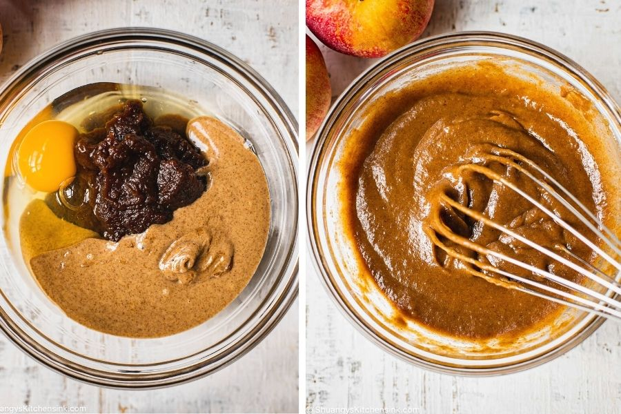 a glass bowl with eggs, apple butter, and almond butter