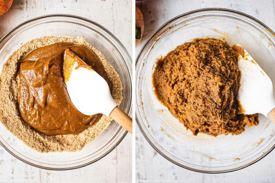 A bowl of dough is being made. a spatula is combining wet and dry gluten-free ingredients