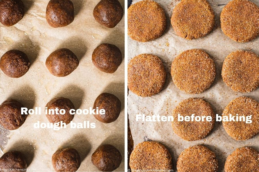 Instructions on how to flatten out the paleo fall flavored treats before baking